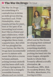 The War On Drugs - Guardian Guide - 01.10.14